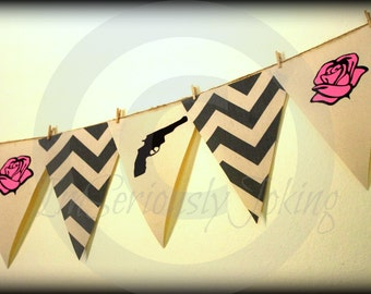 Guns or Roses Gender Reveal Banner - Baby Gender Reveal Party- baby shower-Little Man Party-Mustache party-Baby shower banner-boy or girl