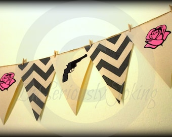 Guns or Roses Banner - Baby Gender Reveal Party- baby shower-Little Man Party-Mustache party-Baby shower banner-boy or girl