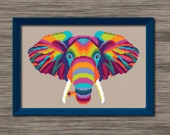 Elephant Head  - PDF Cross Stitch Pattern