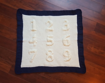 Crochet Pattern - Numbers Afghan - Crochet baby afghan pattern with numbers - three dimensional afghan  post stitches