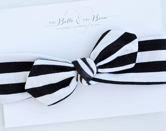 Baby Knot Headband, Baby Turban Headband, Baby Headwrap, Turban Headband, Toddler Knotted Headband, Baby Gift - Black And White Stripe