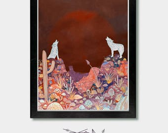 Southwestern Decor - Voice of One - Wolf, Wolf Art, Coyote, Mexican Folk Art, Southwest, Fox, Fox Print, Cactus Art, Cactus Print, Arizona