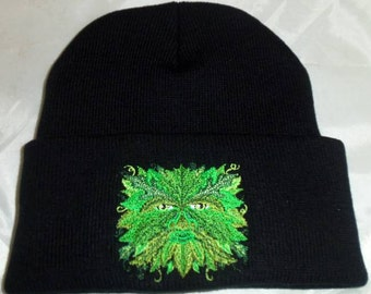 Greenman Winter Beanie Hat Embroidered Wiccan Pagan
