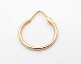 SINGLE 10K Gold Hoop Earring SINGLE EARRING, Unisex Jewelry, Gift for Him, Unisex Earring, Boho bohemian hoop