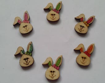 6 multicolored painted wooden Bunny buttons