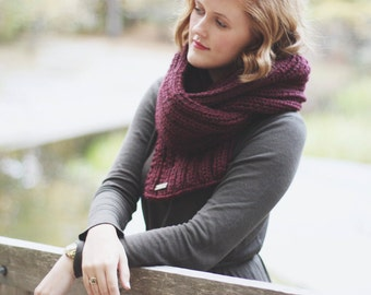Oversized Wool Blend Chunky Knit Scarf   True North Scarf in Mulberry