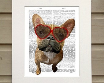 Fawn Frenchie Heart Sunglasses - French bulldog art print french bulldog gift brown french bulldog gift idea Summer art print for kids room