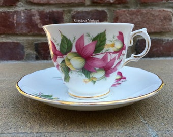 Vintage Royal Vale Fuchsia Tea Cup & Saucer - Free Shipping