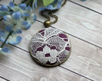 Boho Necklace, Purple Bridesmaid Jewelry, Ivory Flower Lace Fabric Pendant, Unique Gift For Women, Mom, Sister