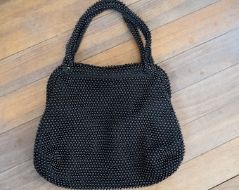 Vintage Corde Bead Black Beaded Purse // mid century evening bag // small 1950s handbag 50s 60s