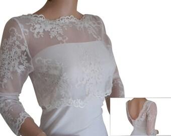 Ladies Ivory  Lace Bolero/Jacket sizes UK 8, 10 ,12,14,16 & 18