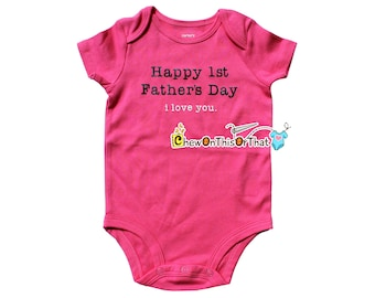 Happy First Fathers Day Short Sleeve Pink Statement Onesie Shirt, Bodysuit, Top, Photo Prop, New Dad Gift, Daddy Little Girl