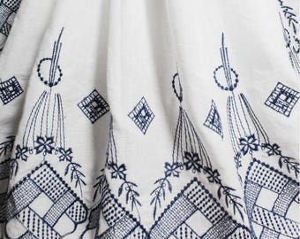 Embroidery Lace Fabric, White Cotton Fabric Embroidered Navy Blue Flower Borders, Scalloped Borders - 1/2 Yard