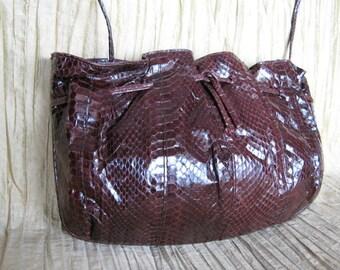 Mary McFadden Snake Purse / Brown Snakeskin Purse / Snakeskin clutch converts to shoulder bag / brown Mary McFadden snakeskin Crossbody