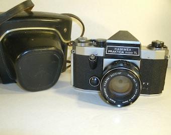 Vintage 1960's German Camera And Leather Case Hanimex Praktica Super TL Asahi Opt. Co. Lens 55/1 East Germany