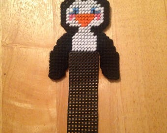 Penguin Bookmark // Needlepoint On plastic Canvas // Animal Bookmark // Book Accessories // Kids Gift // Gift for School // Handmade Item