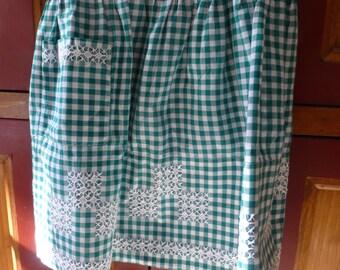 Vintage Handmade - Green/White Gingham Half Apron- cross stitch
