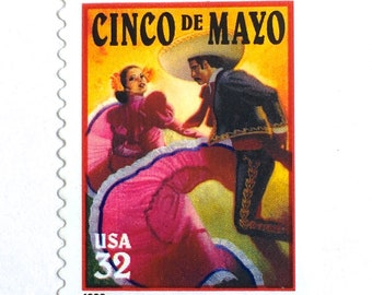 10 Cinco de Mayo US Postage Stamps // Vintage US Mexican Holiday Postage Stamps for Mailing