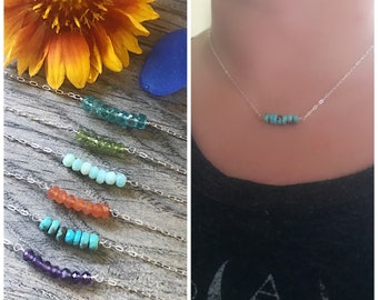 Gemstone Bar Necklace, Turquoise Necklace, Birthstone Jewelry, Sterling Silver, Gifts for Her