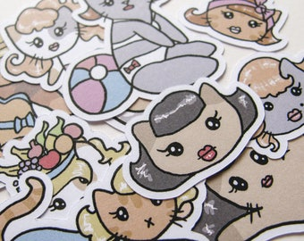 Pinup Girls, Cat Stickers, Playful Kitties, Journaling, Sticker Flakes, Stationery, Scrapbooking, Paper Stickers, Rockabilly Cats