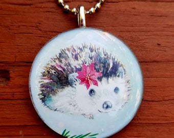 Hedgehog with Poinsettia in hair   Glass Tile Pendant