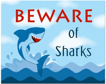 Shark Sign Printable - Instant Download - Shark Party Collection