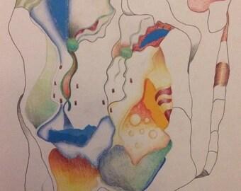Original Abstract Pencil Drawing with Marginal Mixed Media