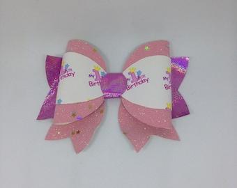 1st birthday pink glitter hair bow