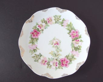 Antique Serving Plate with Pink Hand Painted Flowers from RC Crysantheme, Bavaria