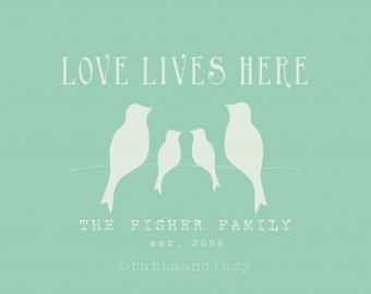 Love Lives Here . Personalized Family Print with Birdies
