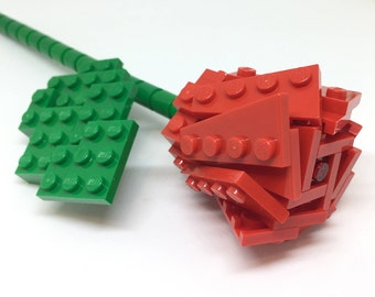 LEGO® Single Stem Red Rose - Valentines Gift - Custom and Hand Made