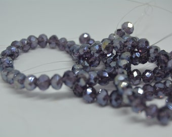 Purple * Deep Purple * Deep Violet * Crystal Glass Faceted Rondelle Beads * 4mm * 20 Beads