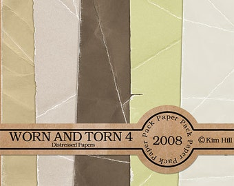 Digital Scrapbook Paper - Worn & Torn Paper Pack 4 - distressed brown paper, tan paper, green paper for digital scrapbook layouts