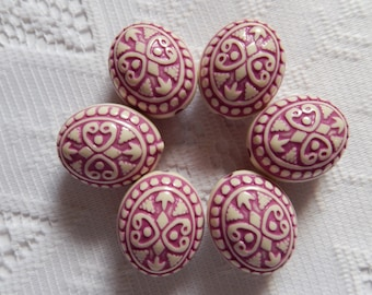 5  Plum Purple & Ivory Cream Etched Oval Ornate Acrylic Beads 25mm x 19mm