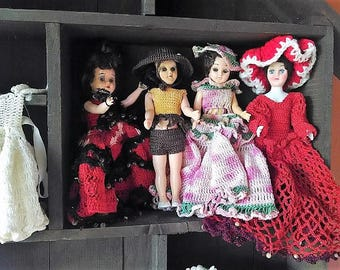 Celluloid Dolls from the 1940's, Four (4) With Hand Made Crochet Outfits, Vintage Dolls, Collectible Dolls