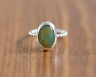 Green Kingman Turquoise Ring, Sterling Silver Ring - Size US 6.5