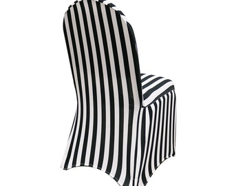 YCC Linen   Spandex Chair Cover Black And White Striped | Stretch Chair  Covers, Wedding Chair Covers