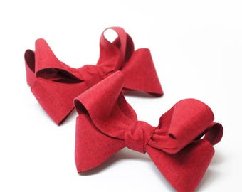 Large Herringbone Red Ribbon - alligator clips, baby bows, toddler hair clips, handmade bows,  girl hair bows