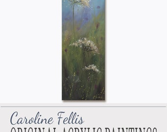 "White Flowers Painting, Small Acrylic Painting, Original Art, Cultivating Happiness I by Caroline Fellis, 6x18"", Floral, Acrylic on Canvas"