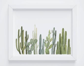 Cactus Row No 2 Art Print - cactus painting - cacti - cactus watercolor - home decor painting - southwestern painting - greenery - cacti art