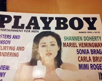 Vintage Playboy Magazine from March 1994 with Shannon Doherty on the cover.
