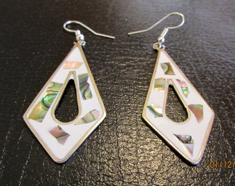 White Enamel and Abalone Long Mexico Alpaca Earrings