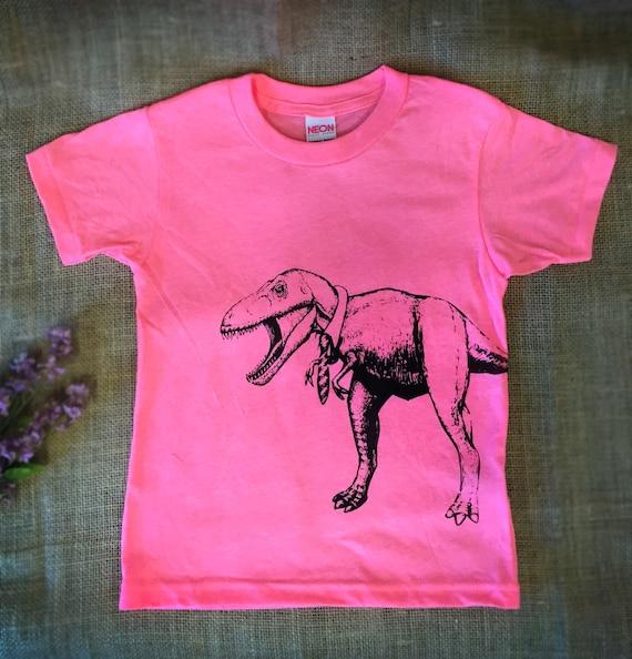 Neon Pink T Rex Dinosaur T Shirt. Girls Dinosaur Shirt. Boys