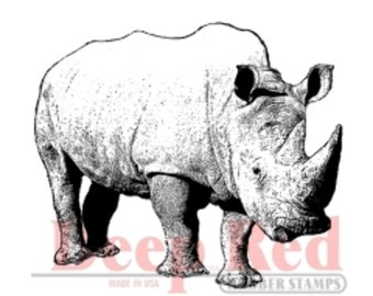 Deep Red Rubber Stamp Rhinoceros Zoo Animal