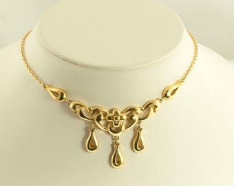 Trifari Floral Drop Necklace