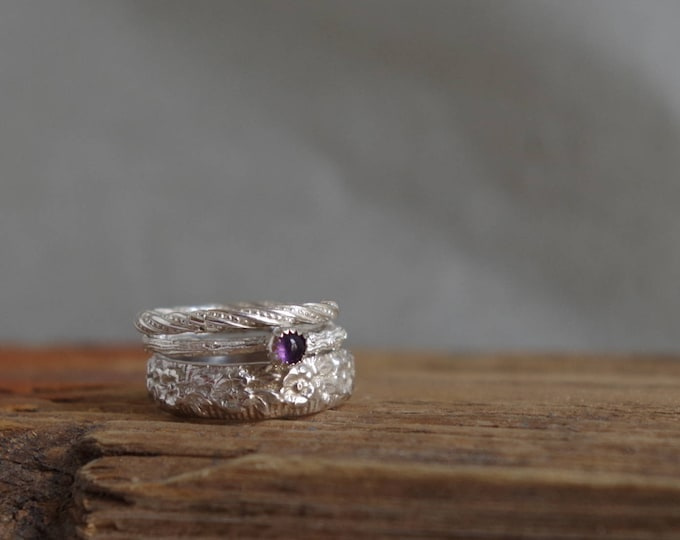 Amethyst Stack Ring Jewelry Ring Set Botanical Gemstone Silver Rings February Birthstone Gifts for  Her