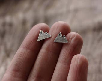Silver Mountain Earrings. Post earrings.