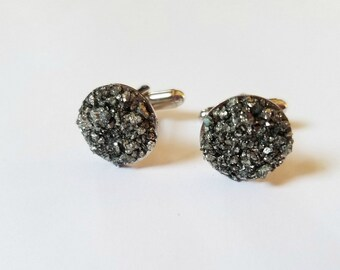 Pyrite Cuff links | Mens Gift | Fathers Day Gift Idea | Raw stone mens jewelry | Groom Gift for him
