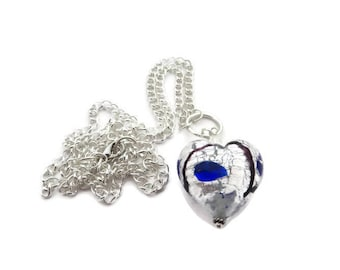 Heart Necklace, Long Heart Pendant, Long Heart Chain, Silver Heart Chain Necklace, Long Chain, Lampwork Glass Bead, Glass Heart Necklace