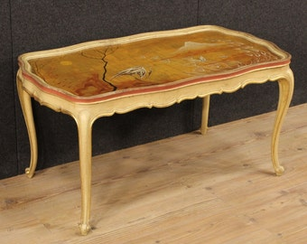 Venetian lacquered, gilded and hand painted coffee table